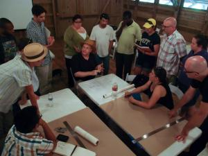 Studio on working out a basic floor plan,  section, and elevations. in the Mule Barn at the Destrehan Plantation.