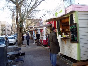 A great Food Cart Pod at 10th and Alder in Portland, OR