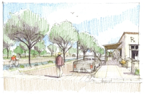 Illustration by Andrew von Maur.  Walking down the side drive of the proposed Multi-way Boulevard.