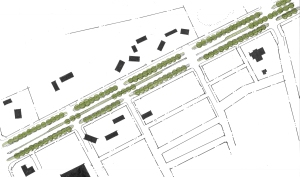 Plan view of the proposed Boulevard section, Existing Buildings in Black.