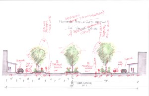 Proposed section redlined after meeting with local cyclists.